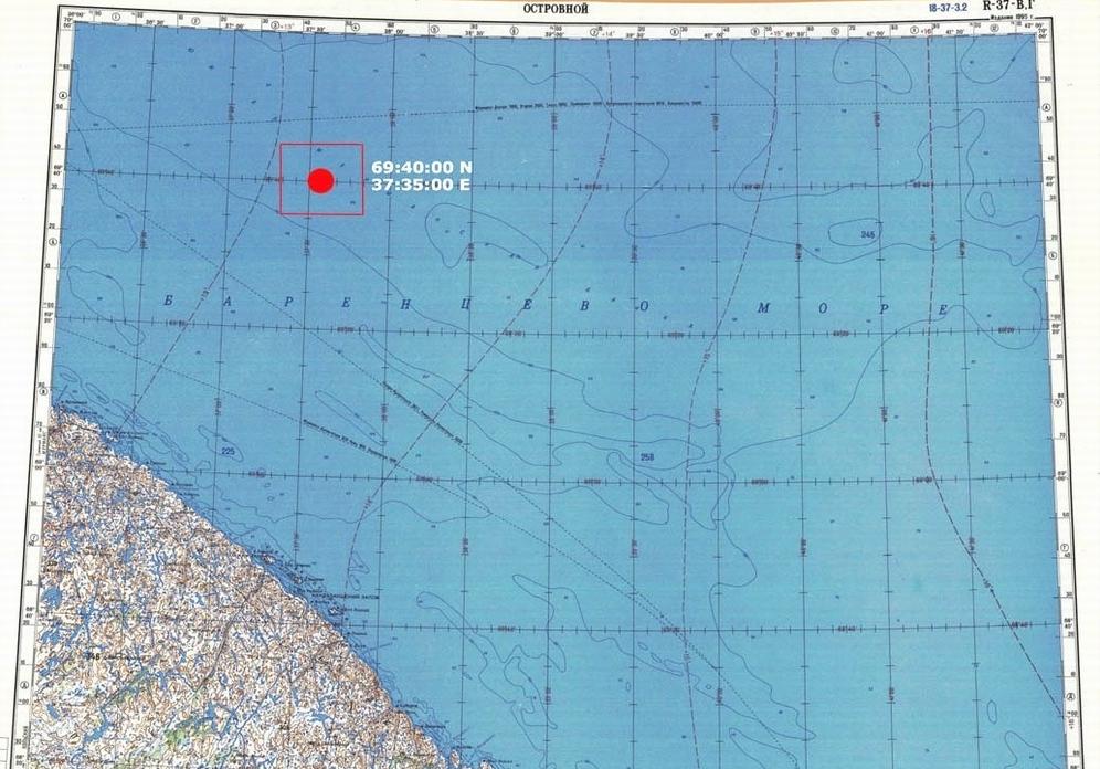 где затонула лодка курск на карте